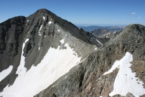The headwall and Castle Peak from Conundrum Peak