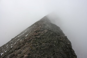 The foggy summit of Challenger Point